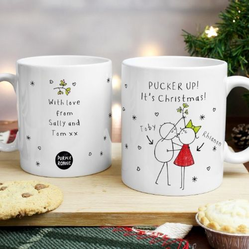 Personalised Purple Ronnie Christmas Couple White Mug